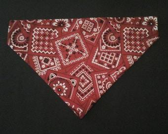 Reversible over the collar, Red Bandana, Dog bandana, pet clothes , puppy bandana, bandana