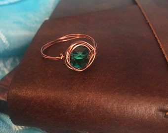 Woven Copper Wire Ring With Jade Jewel