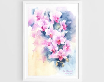 "Original watercolor,orchide,original painting,7""x10"",aquarelle originale,garden,home decor"