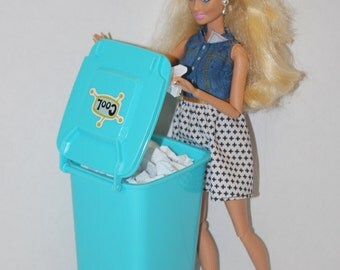 Decorated Barbie Sized Trash Can