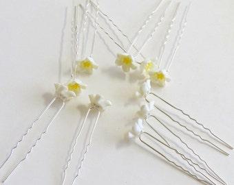 10 Crystal Pearl Flower Bridal Hair Pin Clip, Bridal Hair Accessories, Flower Hair Pins, White And Yellow Wedding, Prom,Bridesmaid Pins