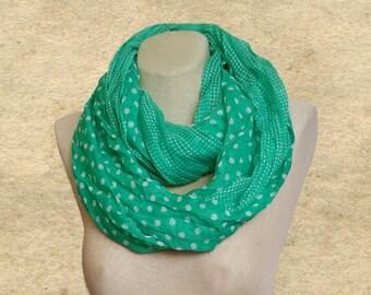 Green infinity scarf, Polka dot scarf loop, Fabric circle scarf, Loop scarves women, Summer scarf,  Creased green scarf, Lightweight scarf