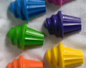 Recycled Crayons - Cupcake Shaped Crayons - Set of 6 - Children Birthday Party Favor Gift