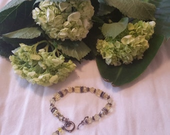 Swarovski Crystal and Balinese Silve Bracelet