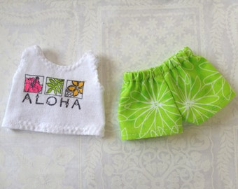Shorts and Tank Top for Dolls, Small Size Hawaiian Doll Clothes, Aloha Tank Top for Dolls, with Pink or Green Shorts
