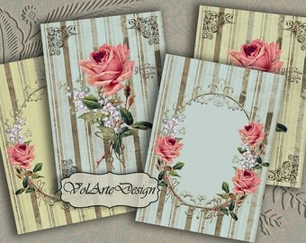 Striped background roses - digital collage sheet - printable download - gift tags - set of 8
