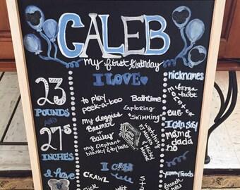 Blue & White Birthday Chalkboard Keepsake