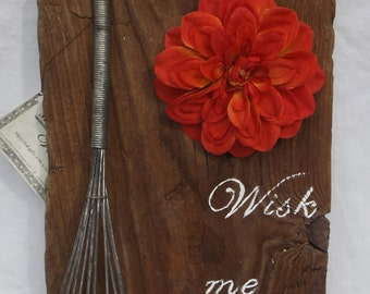 Vintage Whisk on Real 100 year old Barn Wood