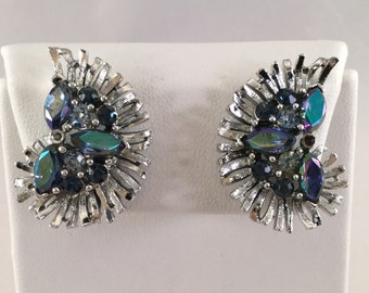 Vintage LISNER Silver Tone w/Blue/Green AB Crystals Screw Back Earrings #2429