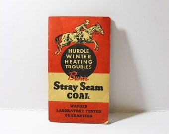 RARE 1942-43 Stray Seam Coal Advertising Notebook with Calendar from Gruschow-MacCabe Coal Company Chicago