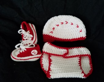 Sports hat/diaper cover set with shoes