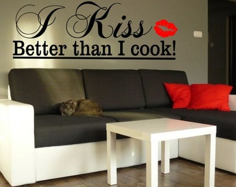 Kiss Love beautifull vinyl wall decor Sticker Decals Design decoration DIY family words decal cheap decorative Removable