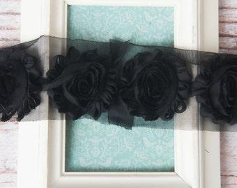 Black shabby flower trim by the yard, black shabby rose trim, wholesale flower trim, shabby trim, chiffon trim, flowers by the yard