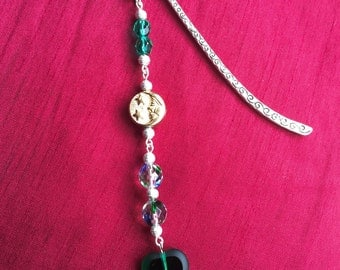 Jewelled bookmark in shades of green