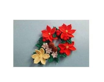 Cute Ponytail Holder Scrunchie Handmade Crochet for party, wedding, gift Cristmas poinsettia