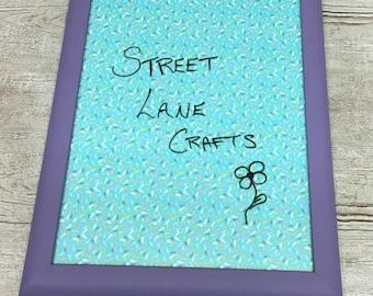 Purple & Fabric Framed Dry Erase Board
