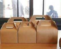 5 Large kraft gable boxes, favor boxes, gift boxes, cookie gable boxes, wedding favor boxes, party favor boxes, bakery boxes