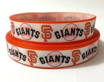 7/8 San Francisco giants Ribbon by the Yard, baseball ribbon, MLB Sf giants ribbon