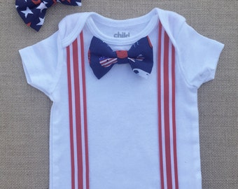 20% off with code HAPPYSUMMER | Fourth of July Patriotic baby Bowtie Onesie with Suspenders and buckles! Red, white and blue baby  holiday o