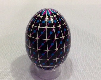 Unique black/green/blue/white geometric design Ukrainian Egg~handmade Pysanky