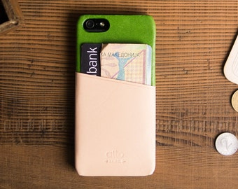 alto Handmade Premium Italian Leather Wallet Case for Apple iPhone 5S/SE - Green/Original