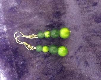 beaded earings made of jade and metallic green beads