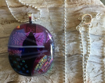 Dichroic glass pendant with silver plated chain