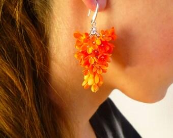 Orange earrings Autumn jewelry Autumn earrings Orange Cluster Earrings Lilac jewelry Lilac earrings Light earrings