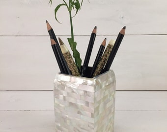 Ivory Mother of Pearl Hand-made Pen Holder