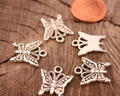 Sweet Patterned Pewter Butterfly Charms Qty 10
