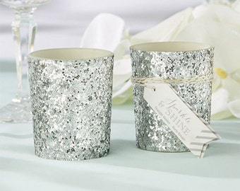 Silver Glitter Candle Holder