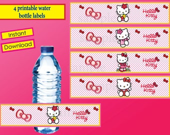 SALE- 50% off  - Instant Download -  Hello Kitty water bottle labels-  Hello Kitty  Birthday ,Hello Kitty  party - printable