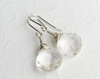 Rock crystal earrings 925 Silver large curd, faceted gems, wrapped