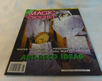 Magic Crochet Magazine No. 103 Aug. 1996 Home Decor, Doilies, Bedspread, Tablecloth, Creche Figures