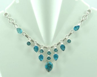 92.5 pure Solid Sterling Silver  Blue Topaz & Copper Turquoise  Necklace