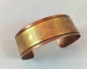 Etched brass and copper cuff