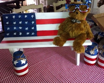 Small child/doll size patriotic wooden bench.