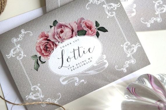 Personalised Bridesmaid Thank You Cards