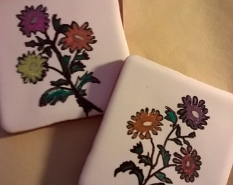 Ceramic flower coasters ,character tile, painted coaster. Home gift