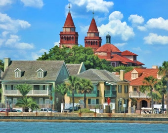 St. Augustine, Bayfront II, Historic City, Fine Art, Historic Street, Cityscape, Flagler College, Urban Decor, City Decor, Large Prints