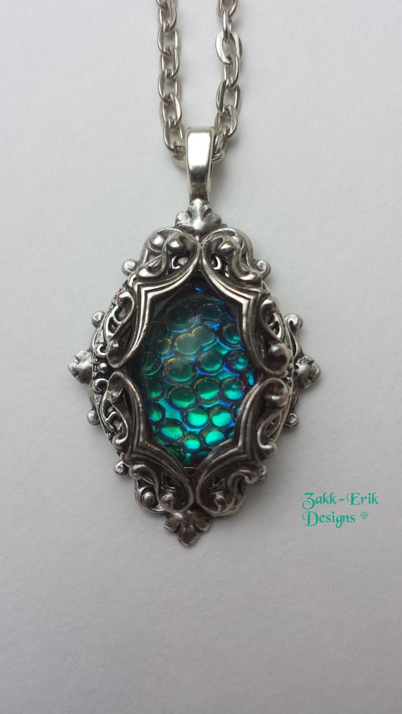 Dragons Egg Opal Necklace Antique Silver Pendant Magic Wizard Fantasy Teal Scale Vintage Victorian Brass Steampunk Roleplay 18x13 mm Unique