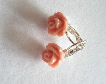 Light Pink Flower Resin Earrings
