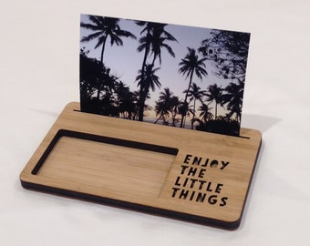 Photo Stand - Enjoy The Little Things - Photo Holder, Desk Caddy, Memory Holder, Quote Display, made from Bamboo