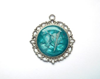 """Unique Pendant """"Blue"""", Mixed Media, Necklace Pendant, Blue Turquoise Silver, Metal, Charm, Original Jewellery Jewelry, Whimsical Amulet"""