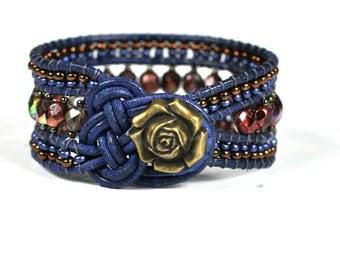Celtic leather cuff bracelett Wrap bracelett Vintage Beaded Irish style