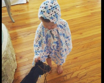 Vintage kids poncho/ crochet poncho