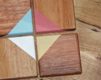 Mixed Australian Hardwood Milk Painted Drink Coasters
