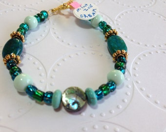 "ID# 245 Mint ICE CREAM 6.25"" bracelet"
