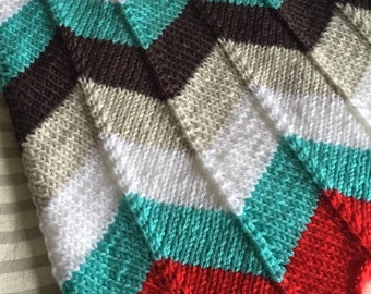 Red and teal chevron baby blanket