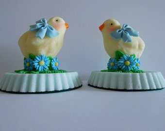 Baby Blue Handmade PAIR of Sugar Chickens